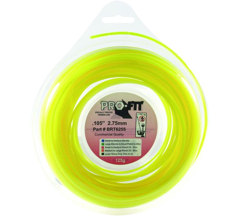 "PRO FIT TRIMMER LINE YELLOW .105"" / 2.75MM DONUT LENGTH 19M"