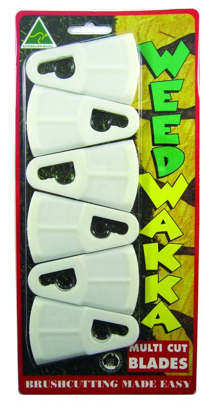 WEEDWAKKA 6 PACK OF REPLACEMENT PLASTIC BLADES SKIN PACKED FOR DISPLAY
