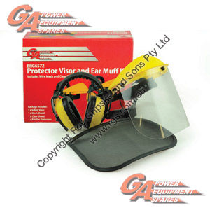 GA Mesh and Clear Safety Shield with Ear Muffs