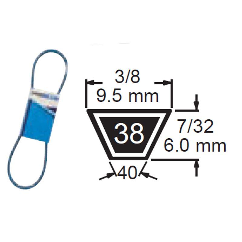 TRUE BLUE V-BELT 3/8 X 38 (M37) - SKU:238-038