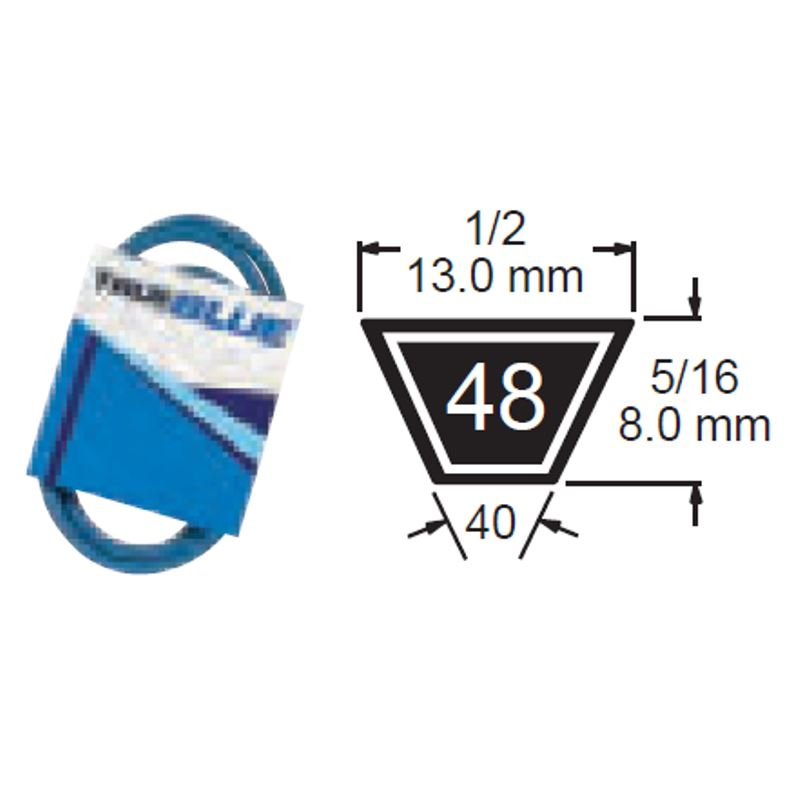 TRUE BLUE V-BELT 1/2 X 53 (A51) - SKU:248-053